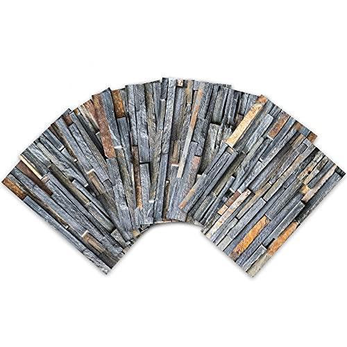 Azulejos de cocina, 54 piezas decoración sala de estar, renovación artificial, adhesivos de pared de ladrillo de piedra en bruto, adhesivos decorativos tridimensionales 3D resistentes a los arañazos