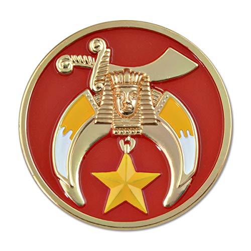 Shriner Round Masonic Auto Emblem - [Red & Gold][3'' Diameter]
