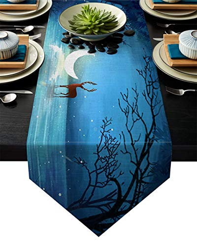 Table Runner Forest Reindeer and Night Moonlight Scene Theme Farmhouse Table Runners Macrame Table Runner,Silky Modern Art Kitchen & Dining Room Sets For Bohemian Rustic Bridal Shower