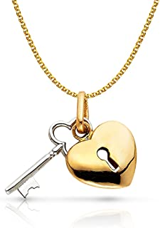 14K Two Tone Gold Key to Heart Keyhole Charm Pendant with 1.5mm Flat Open Wheat Chain Necklace