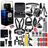 GoPro HERO8 Black Digital Action Camera - Waterproof, Touch Screen, 4K UHD Video, 12MP Photos, Live Streaming, Stabilization - 128GB Card - with 50 Piece Accessory Kit - All You Need Bundle