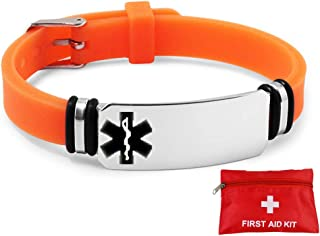 Murinsar Adjustable Custom Stainless Steel Silicon Medical Alert Bracelet for Women Men Kids Emergency Alarm Awareness ID Band with Free First Aid Kit Life Saver,Orange