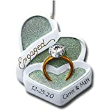 Kurt Adler Personalized Engagement Ring Engaged Couple Heart Shaped Box with Diamond Wedding Ring Hanging Christmas Ornament with Name and Date (Optional)