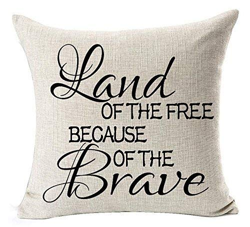 Delia32Agnes Modern Best Gifts Funny Quotes Land of The Free Because of The Brave Linen Throw Pillow Covers Decorative with Zip 18 X 18 for Couch