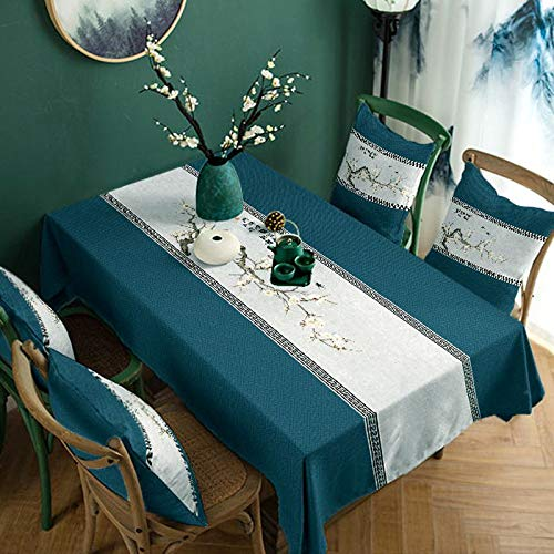 XIAOE Tablecloths Chinese Style Elegant Printed Home Decoration Thicken Cotton Linen Table Cloth Table Runner Buffet Decoration Photography Background Cloth Kitchen Dinning 140 * 140cm