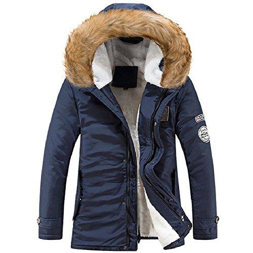 BOZEVON Hommes Hiver Blouson À Capuche Col De Fourrure Chaud Hoodies Manteau Pardessus Veste d'hiver Outwear, Noir/Vert/Marron/Bleu