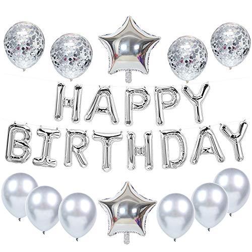 Feelairy Decoración de Cumpleaños de Plata, Globos de Guirnalda Happy Birthday, Globos de Confeti Plateados, Globos Decoración de Fiesta de Cumpleaños para Niñas Hombres Mujeres