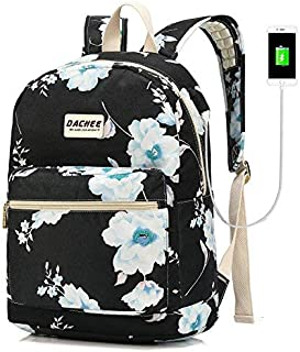 DACHEE Laptop Backpack with USB Charging Port Waterproof School Bookbag Travel Backpack for 15.6 Inch (White Flowers)