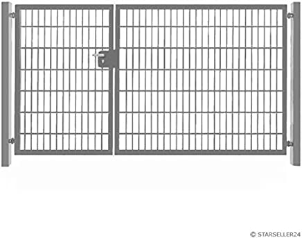 Holz Tor Gartentor Auffahrtstor Doppelfl/ügeltor Holztor inkl Pfosten NEU Einfahrtstor 300 x 180cm 2-fl/ügelig Verzinkt