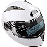 Casco Jet para moto, color blanco, con doble visera, casco integral, protección UV + antigolpes, talla L