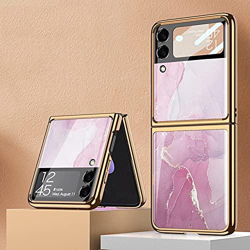 coque Galaxy Z Flip 3 5G Hülle,ultradünnes 9H Glas glänzend lackierte Handyhülle,Faltbare Handyhülle für Samsung Galaxy Z Flip 3 5G-Lavendel