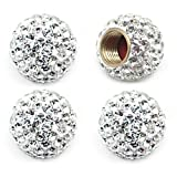 1966 Ford Mustang Accessories & Parts - MECHCOS Car Wheel Tire Valve Caps, 4 Pack Crystal Rhinestone Car Tire Wheel Valve Stem Air Caps for Car Tire Accessories Universal for Cars, SUVs, Bicycle, Trucks and Motorcycles - White
