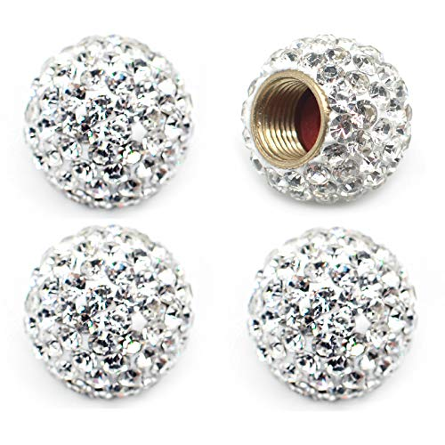 MECHCOS Car Wheel Tire Valve Caps, 4 Pack Crystal Rhinestone Car Tire Wheel Valve Stem Air Caps for Car Tire Accessories Universal for Cars, SUVs, Bicycle, Trucks and Motorcycles - White