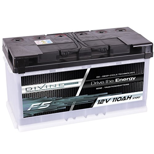 Divine 12V 110Ah Solarbatterie Mover Versorgungsbatterie Wohnmobil Boot Marine Camping Batterie Wartungsfrei