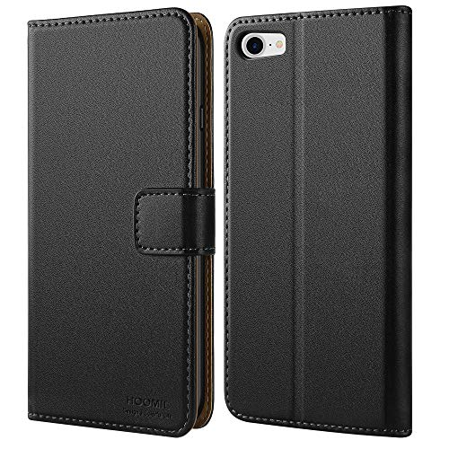 HOOMIL iPhone 7 Hülle, iPhone 8 Hülle, iPhone SE 2020 Hülle, Handyhülle iPhone 7 Tasche Leder Flip Hülle Brieftasche Etui Schutzhülle für Apple iPhone 7/8/SE 2020 Cover (4,7 Zoll) - Schwarz