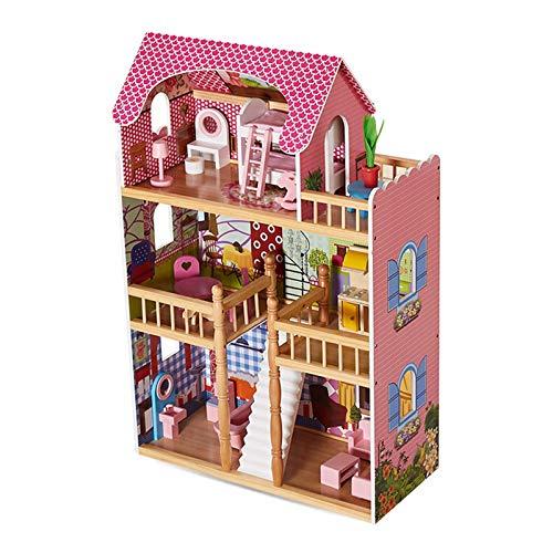 Wohnausrüstung Puppenhausmodell Zusammengebautes Hausmodell DIY Puppenhaushaus Holzpuppenhausmodell 3D-Puzzle für Kinder Dekoratives Miniaturpuppenhausmodell (Farbe: Pink Größe: 65 mal; 29,6 mal; 9
