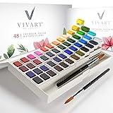 Watercolor Paint Set with 48 Premium Paints, Water Color Paint Set Includes 2 Artist Brushes, Palette, 140lb/300G Watercolor Paper Pad and Watercolor Painting eCourse, Travel Watercolor Set