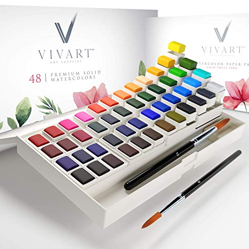 Watercolor Paint Set with 48 Premium Paints, Water Color Paint Set Includes 2 Artist Brushes, Palette, 140lb/300G Watercolor Paper Pad and Watercolor Painting eCourse, Travel Watercolor Set