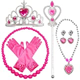 specool Gilrs Prinzessin Anzieh Zubehör 6 Stück Geschenkset Prinzessin Handschuhe, Tiara Krone und Zauberstab, Halsketten für Kinder (rosa)