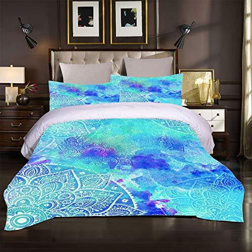 XTiFound Sängkläder Blå Mandala Blommor Påslakanset För Sängar 1X Täcke + 2X Örngott - 100 Polyesterbomull, Blixtlås, Mikrofiber, Sovrumsdekorationer För Pojkar Och Flickor 200X200Cm