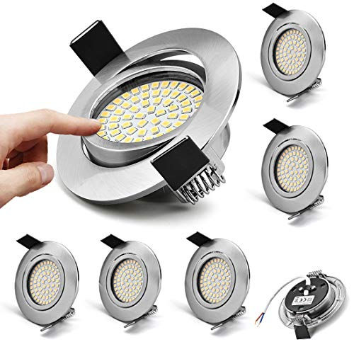 KYOTECH LED Einbaustrahler Schwenkbar Ultra Flach 6er Set 5W 230V Warmweiße 3000K 400Lumen Ra >80 LED Einbauspots 120°Abstrahlwinkel Deckenspots Wohnzimmer Schlafzimmer