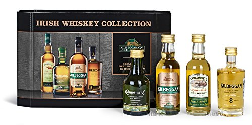 Kilbeggan Irish Whiskey Collection (5cl Greenore Single Grain Whiskey 5cl Kilbeggan Traditional Irish Whiskey 5cl Tyrconnell Single Malt Irish Whiskey 5cl Connemara Peated Single Malt Irish Whiskey) Geschenk Set