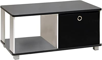 Furinno Coffee Table with Bin Drawer, Black & White