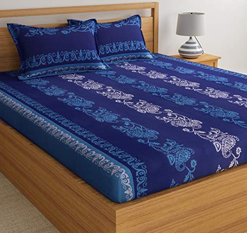 Home Ecstasy 140TC, 100% Cotton Bedsheets for Double and Single Bed with Pillow Cover,(ParentHME2-1) (Double, Blue Ethnic1)