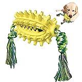 Juguete para masticar, cepillo de dientes interactivo de goma duradero para perros grandes y medianos (amarillo)