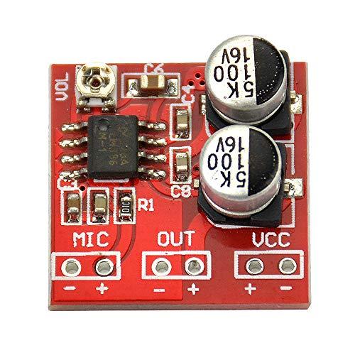 Refaxi Placa De Amplificador De Potencia De Micrófono, DC 3.7V-12V LM386 Placa De Amplificador De Potencia De Micrófono Electret Ganancia 200 Veces (1 Pieza)