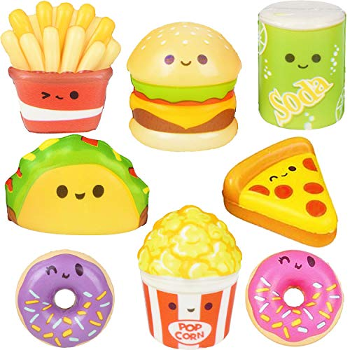 24 Pc Squishy Toys for Kids Fast Food Small Squishies Slow Rising Pack Taco Pizza Hamburger - Stress Relief Fidget Soft Sensory Kawaii Toy Great Gift for Boys & Girls - Size 1.5-2.25 ' by 4E's Novelty