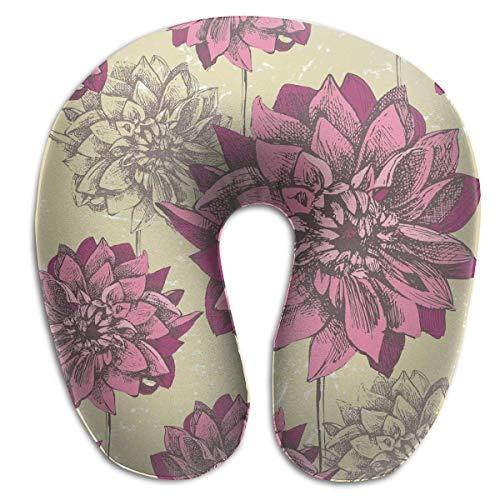 Almohada para el Cuello Colorful Dahlia Floral Blooming Country Nature Almohada de Viaje en Forma de U Diseño ergonómico Contorneado Funda Lavable
