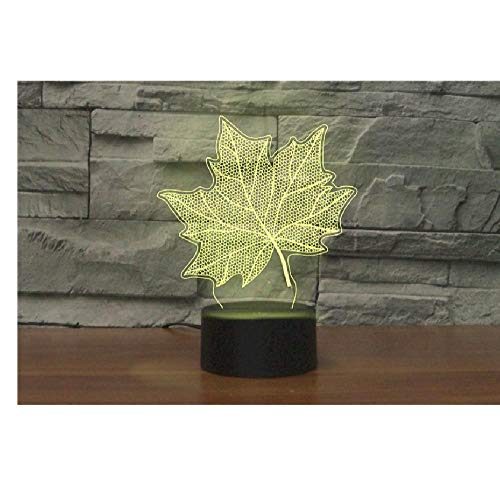 Late Autumn Memory Maple Leaf 7-Color Lamp 3D Visual Led Night Light, Children Touch Usb Table Lamp, Baby Sleep Night Light, Sports Light