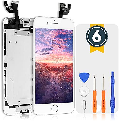 bokman Schermo Display LCD per iPhone 6 Bianca Sostituzione dello Schermo con Pulsante Home, Fotocamera, Sensore Flex e Strumenti di Riparazione