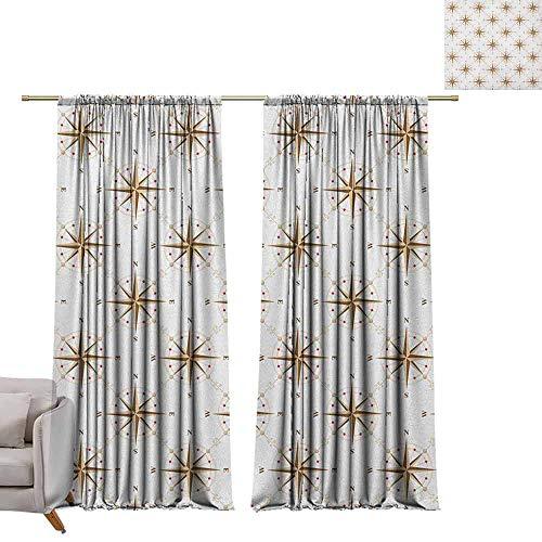 Print patroon Gordijnen voor kamer donkere panelen voor woonkamer slaapkamer Compass,Oud-Fashioned World Map Design met kompas in Retro Distressed Kleuren Continenten Crème Tan