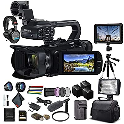 Canon XA45 Professional UHD 4K Camcorder (3665C002) W/ 2 Extra Battery, Soft Padded Bag, 64GB Memory Card, Filter Kit, LED Light, Sony Headphones, 4K Monitor, Sony Mic and More Advanced W/Mic Bundle from Canon
