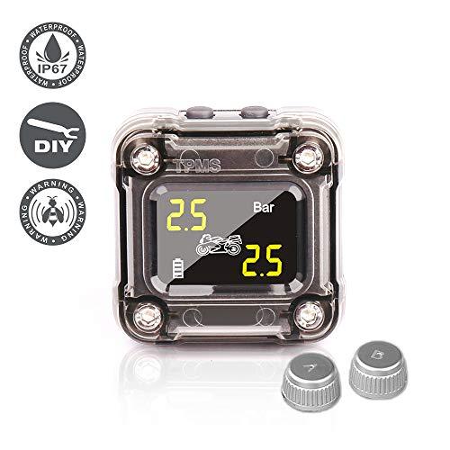 NEWekey Motorcycle TPMS Tire Pressure Monitoring System, IP67 Waterproof Wireless TPMS for Motorcycle with 2 External Sensors Digital LCD Display Two-Wheeled Motorcycle TPMS