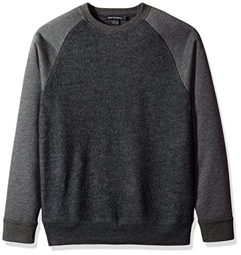 French Connection Men's Boiled Sweat Knit Hybrid Sweater, Charcoal Melange, XXL