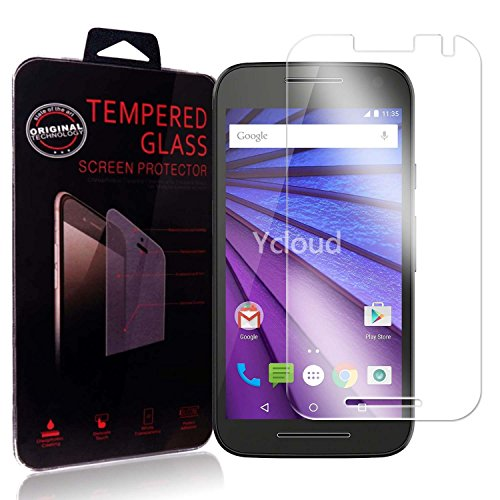 Ycloud Panzerglas Folie Schutzfolie Bildschirmschutzfolie für Motorola Moto G 3.Generation screen protector mit Festigkeitgrad 9H, 0,26mm Ultra-Dünn, Abger&ete Kanten