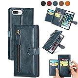 DEFBSC Funda para iPhone 6 Plus/iPhone 6S Plus/iPhone 7 Plus/iPhone 8 Plus, funda de piel sintética con cierre magnético, tapa tipo cartera, estilo vintage, con ranuras para tarjetas, color azul
