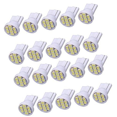 MagiDeal 20pcs T10-1206-8SMD LED Blanc Lumière pour Tableau De Bord Compteur Vitesse