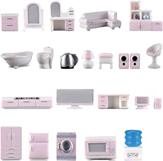 23 Pcs Miniature Dollhouse Kit Mini TV Brain Bedside Clothes Bookcase Audio Dressing Table Kettle Computer Doll-House Furn...