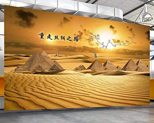 Tapete 3D Fototapete Seidenstraßen-Wüste Ägypten-Pyramide Tapeten 3D Effekt Vliestapete Moderne Wanddeko