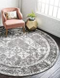 Unique Loom Rosso Collection Vintage, Traditional, Bohemian, Geometric, Distressed, Southwestern Area Rug, 4 Feet, Gray/Ivory