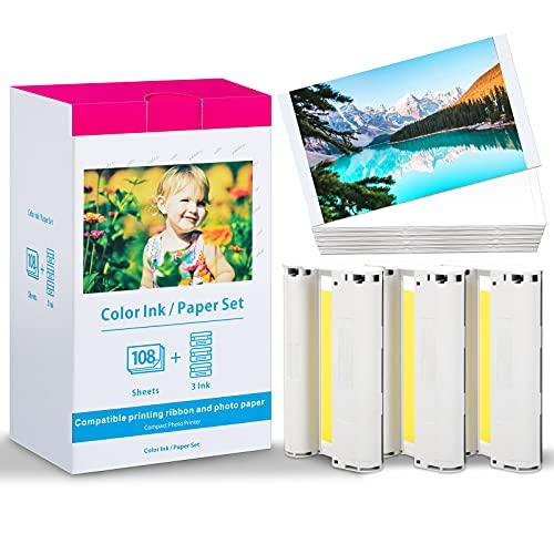 Oozmas Compatible Selphy Papel fotográfico KP-108IN 3115B001 (AA), Compatible Selphy CP1300 CP1200 CP1000 CP910 CP810 CP780, Tinta 3 cartuchos 108 hojas Papel, 148x100mm