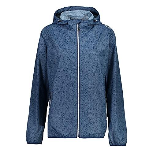 CMP Damen Jacke Regenjacke mit Kapuze - packbar in eine kleine Tasche, Blue