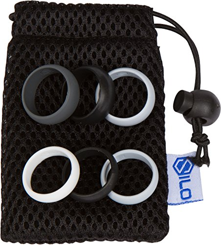 SILO Silicone Wedding Rings Set + Gift Bag - 9mm Men OR 6mm Women, 3 Band Shades Pack - Black, Gray, White