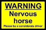 Señal de Advertencia de Caballo nervioso en tránsito – Señal de Seguridad – 3 mm de Aluminio 600 mm x 400 mm