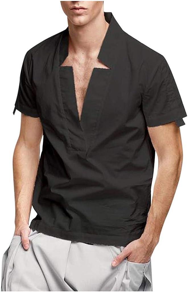 MODOQO Men's Tee Shirt Short Sleeve V-Neck Slim Fit Breathable T-Shirt Tops