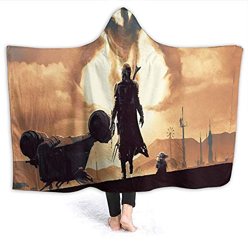Star Wars Comfortable Hooded Blanket Baby Yo-da The Mandalorian for Adult and Kids Adults Size 80 x 60 Inch